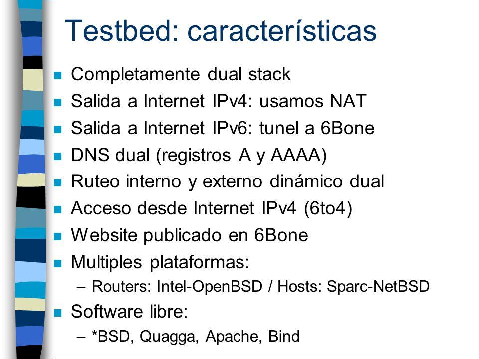 Testbed: características n Completamente dual stack n Salida a Internet IPv4: usamos NAT n Salida a Internet IPv6: tunel a 6Bone n DNS dual (registros
