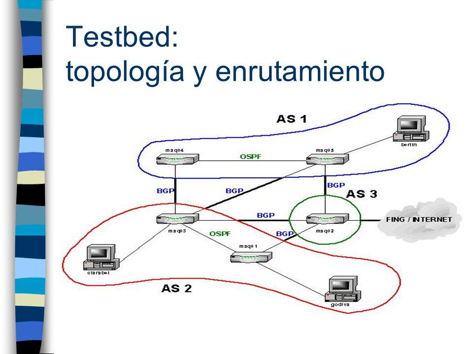 Enrutamiento: pruebas n Prueba de forwarding n Pruebas de protocolos de enrutamiento (OSPF y BGP): –Funcionamiento en régimen –Caída y restablecimiento de enlaces –Agregado y eliminación de nueva red n Pruebas de convergencia –Corte y restablecimiento de enlaces durante transmisión de datos n Conclusión: –Funcionamiento correcto