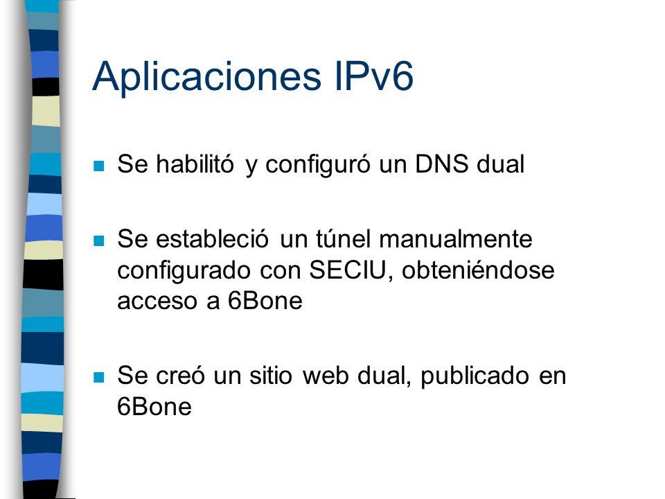 Aplicaciones IPv6: DNS n IPv6 utiliza registros tipo AAAA, los cuales trabajan de la misma forma que los A en IPv4 n La configuración de un DNS IPv6 es similar a la de un DNS IPv4 n Se creó un registro AAAA para cada host del testbed