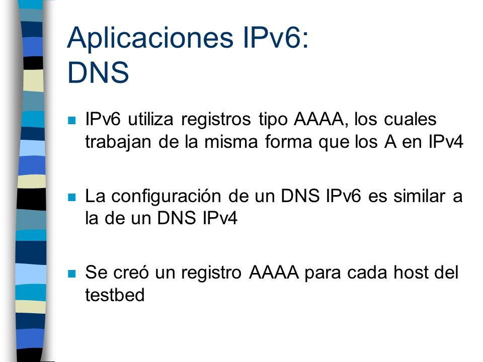 Aplicaciones IPv6: DNS n IPv6 utiliza registros tipo AAAA, los cuales trabajan de la misma forma que los A en IPv4 n La configuración de un DNS IPv6 e
