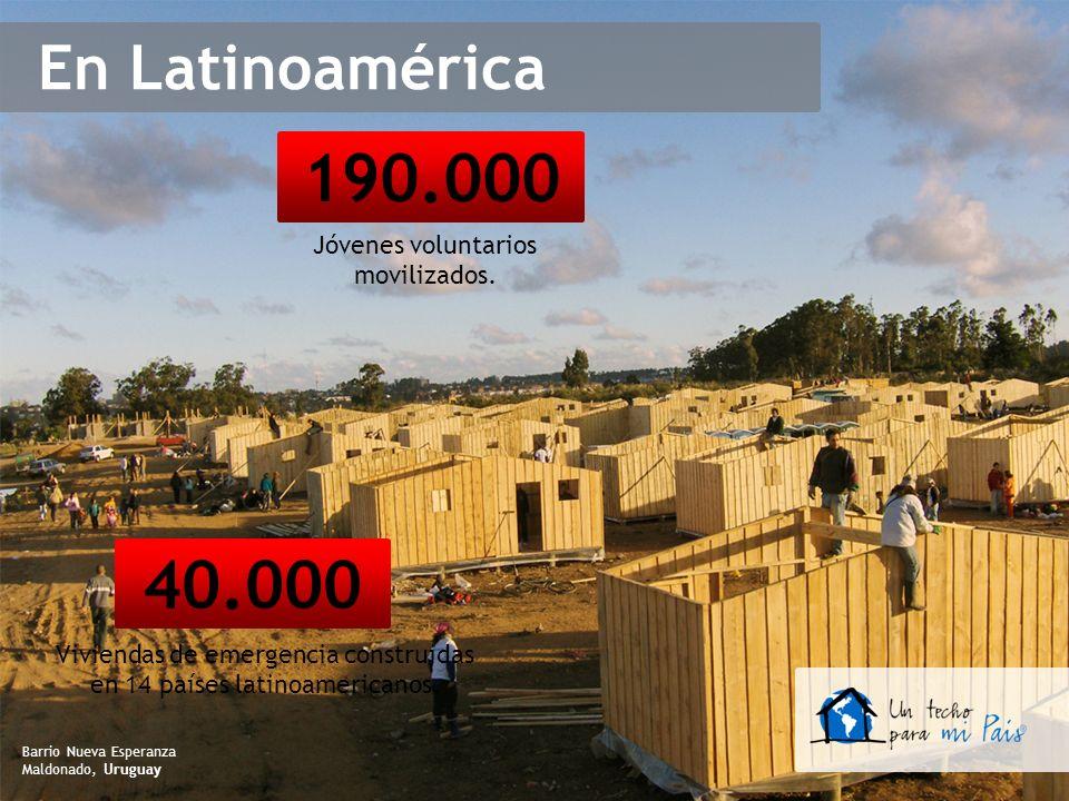 40.000 Viviendas de emergencia construidas en 14 países latinoamericanos. 190.000 Jóvenes voluntarios movilizados. Barrio Nueva Esperanza Maldonado, U