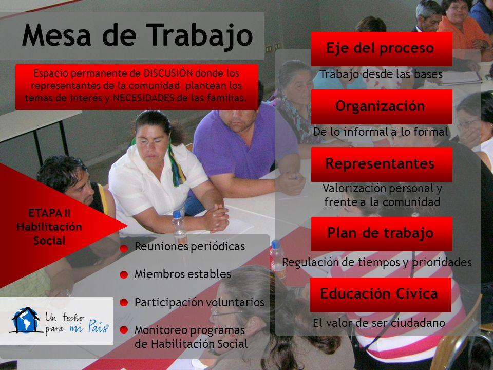 Mesa de Trabajo Eje del proceso Trabajo desde las bases Organización De lo informal a lo formal Representantes Valorización personal y frente a la com