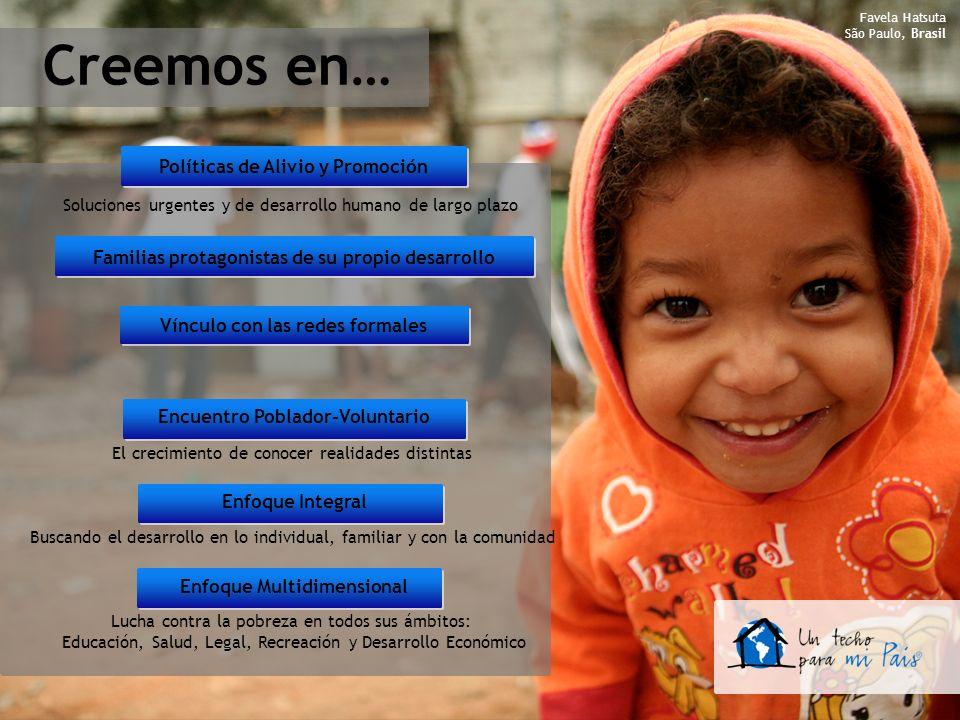Creemos en… Familias protagonistas de su propio desarrollo Vínculo con las redes formales Encuentro Poblador-Voluntario Enfoque Multidimensional Polít