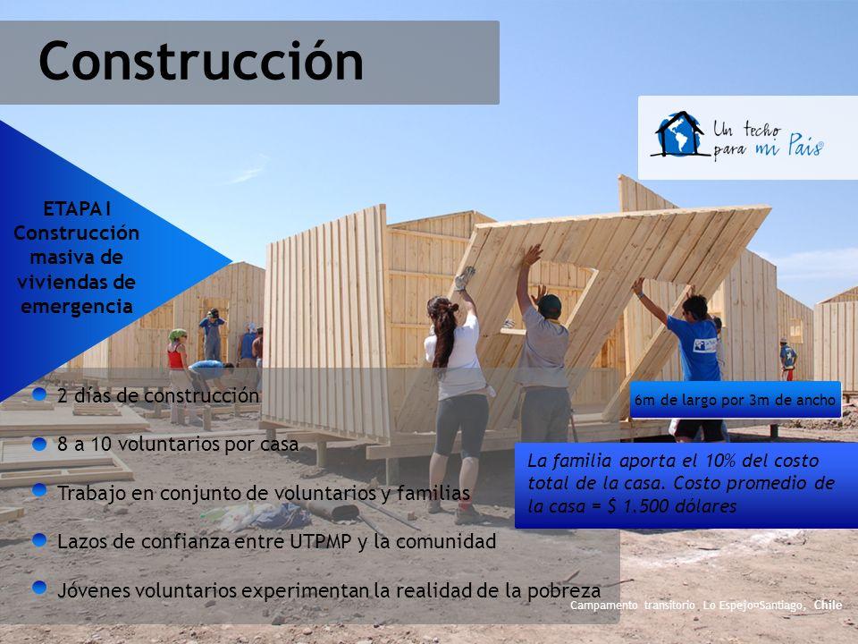 Construcción 2 días de construcción 8 a 10 voluntarios por casa Trabajo en conjunto de voluntarios y familias Lazos de confianza entre UTPMP y la comu