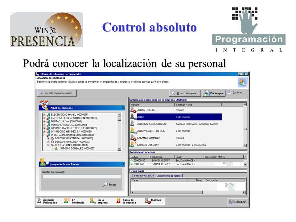 Control absoluto Podrá conocer la localización de su personal