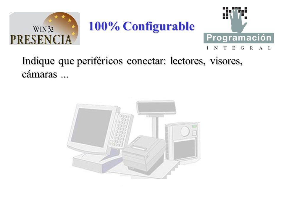 100% Configurable Indique que periféricos conectar: lectores, visores, cámaras...