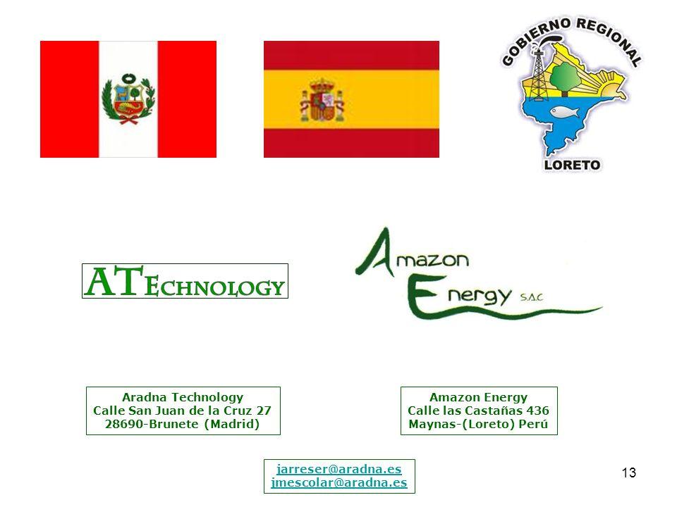 13 Aradna Technology Calle San Juan de la Cruz 27 28690-Brunete (Madrid) Amazon Energy Calle las Castañas 436 Maynas-(Loreto) Perú jarreser@aradna.es