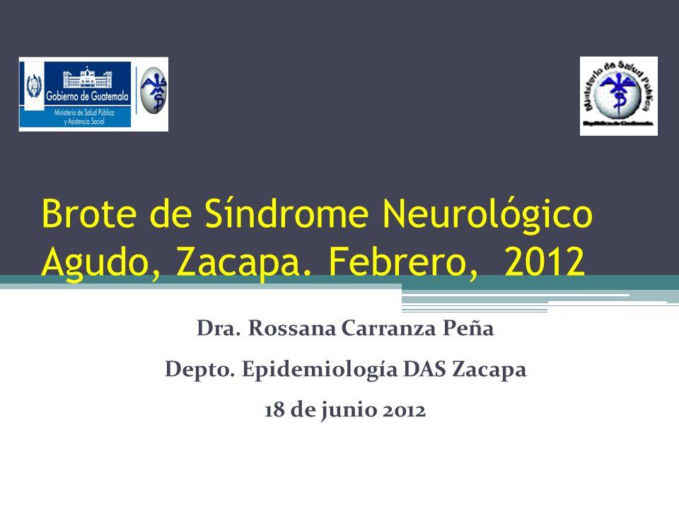 Brote de Síndrome Neurológico Agudo, Zacapa. Febrero, 2012 Dra. Rossana Carranza Peña Depto. Epidemiología DAS Zacapa 18 de junio 2012