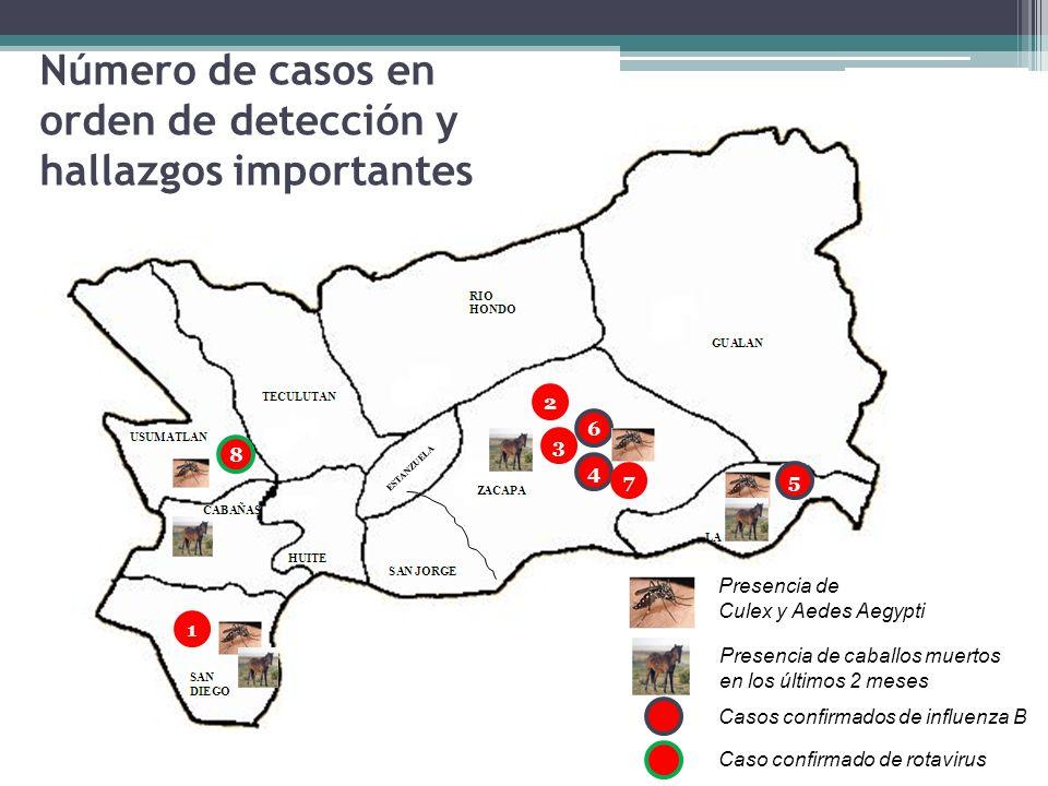 Número de casos en orden de detección y hallazgos importantes Presencia de caballos muertos en los últimos 2 meses Presencia de Culex y Aedes Aegypti