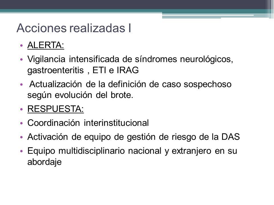 Acciones realizadas I ALERTA: Vigilancia intensificada de síndromes neurológicos, gastroenteritis, ETI e IRAG Actualización de la definición de caso s