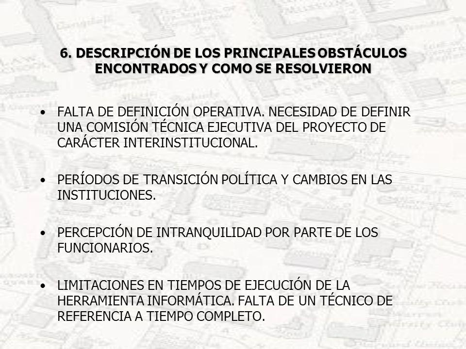 6. DESCRIPCIÓN DE LOS PRINCIPALES OBSTÁCULOS ENCONTRADOS Y COMO SE RESOLVIERON FALTA DE DEFINICIÓN OPERATIVA. NECESIDAD DE DEFINIR UNA COMISIÓN TÉCNIC
