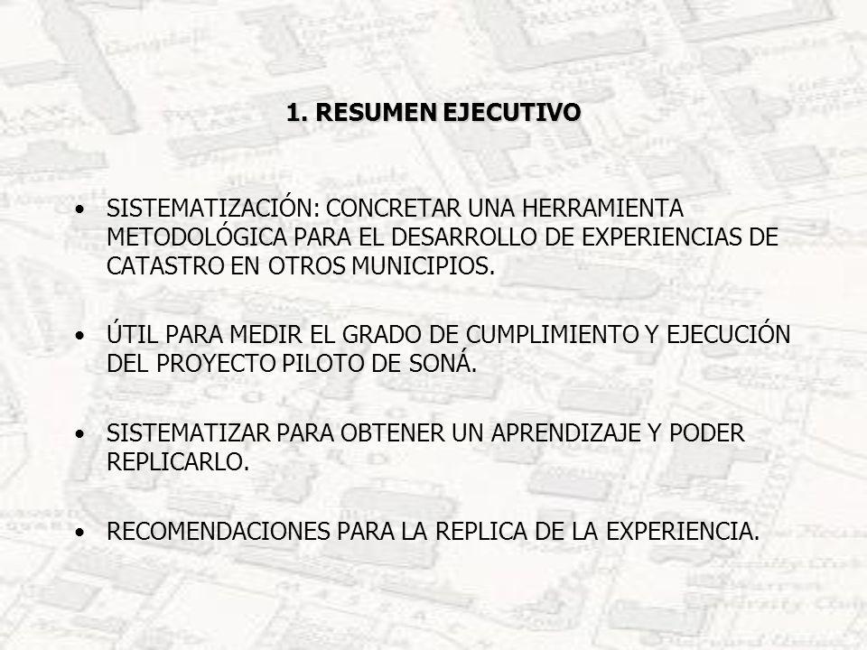 1. RESUMEN EJECUTIVO SISTEMATIZACIÓN: CONCRETAR UNA HERRAMIENTA METODOLÓGICA PARA EL DESARROLLO DE EXPERIENCIAS DE CATASTRO EN OTROS MUNICIPIOS. ÚTIL