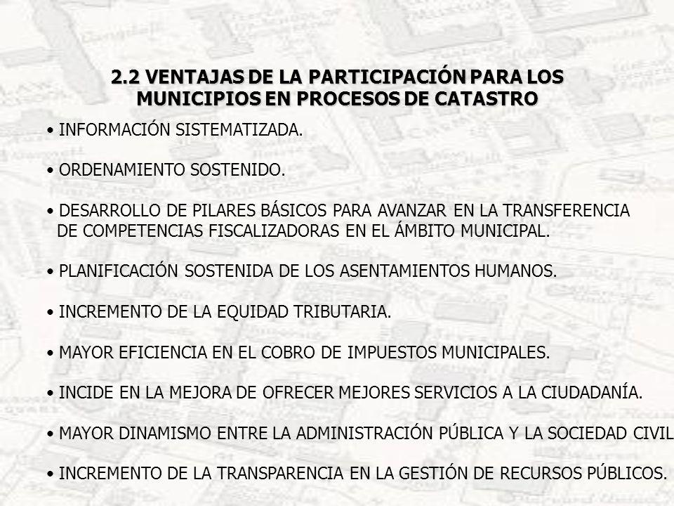 2.3 DESVENTAJAS DE LA FALTA DE PARTICIPACIÓN EN PROCESOS DE CATASTROS PARA LOS MUNICIPIOS FALTA DE INFORMACIÓN SOBRE LA POBLACIÓN Y SUS CARACTERÍSTICAS ESPACIALES EN EL MUNICIPIO.