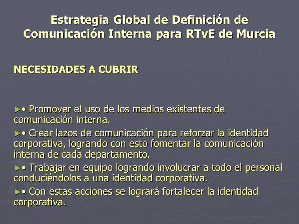 Estrategia Global de Definición de Comunicación Interna para RTvE de Murcia Las características preponderantes y que definen el perfil de RTVE Murcia, es la parte personal y emotiva en que se desenvuelven y prefieren laborar, así como la practicidad que implica el uso de intranet.