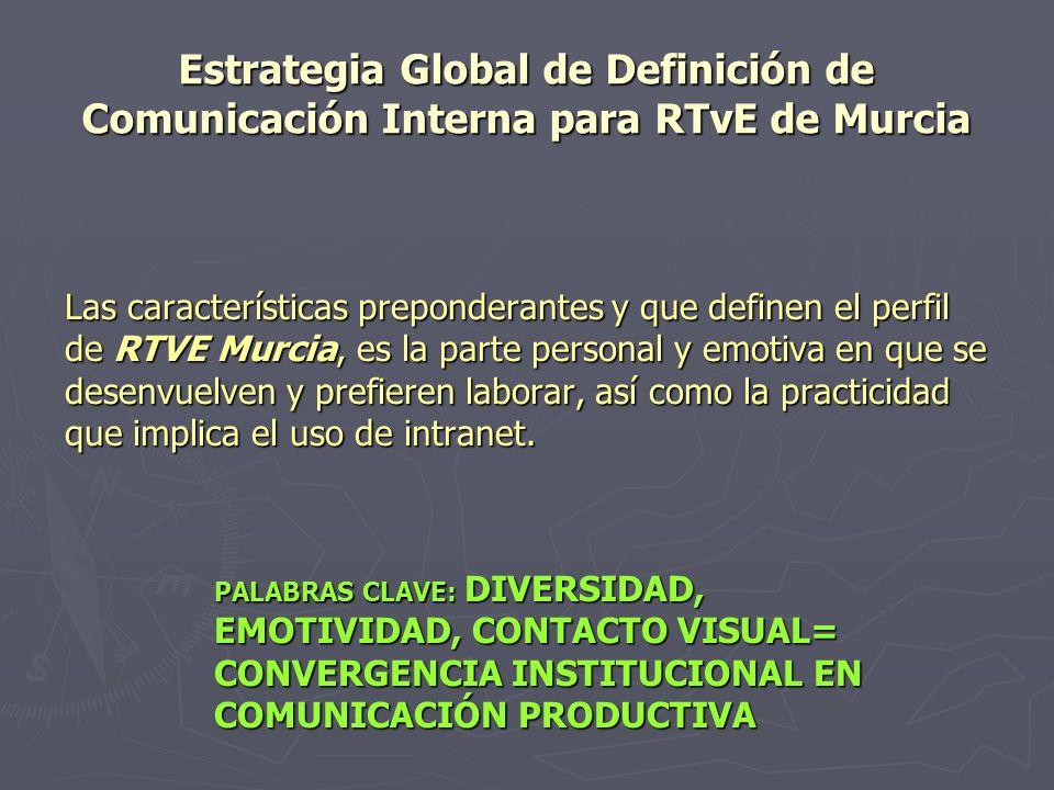 Estrategia Global de Definición de Comunicación Interna para RTvE de Murcia Las características preponderantes y que definen el perfil de RTVE Murcia,