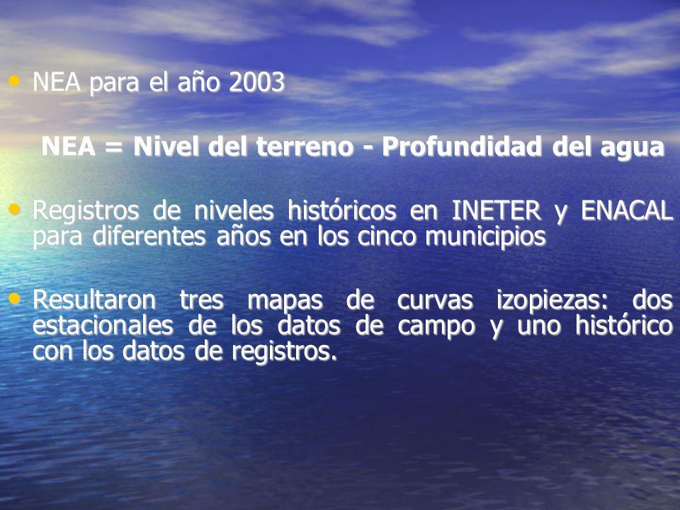 NEA para el año 2003 NEA para el año 2003 NEA = Nivel del terreno - Profundidad del agua Registros de niveles históricos en INETER y ENACAL para diferentes años en los cinco municipios Registros de niveles históricos en INETER y ENACAL para diferentes años en los cinco municipios Resultaron tres mapas de curvas izopiezas: dos estacionales de los datos de campo y uno histórico con los datos de registros.