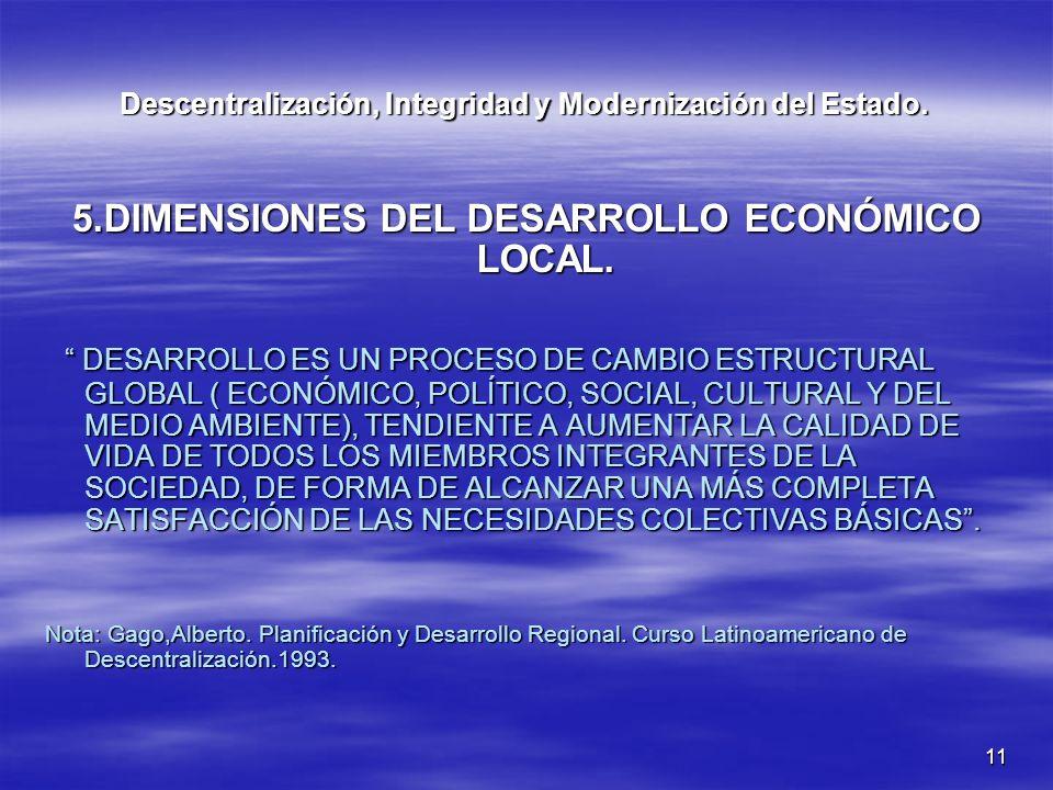 11 Descentralización, Integridad y Modernización del Estado. 5.DIMENSIONES DEL DESARROLLO ECONÓMICO LOCAL. DESARROLLO ES UN PROCESO DE CAMBIO ESTRUCTU