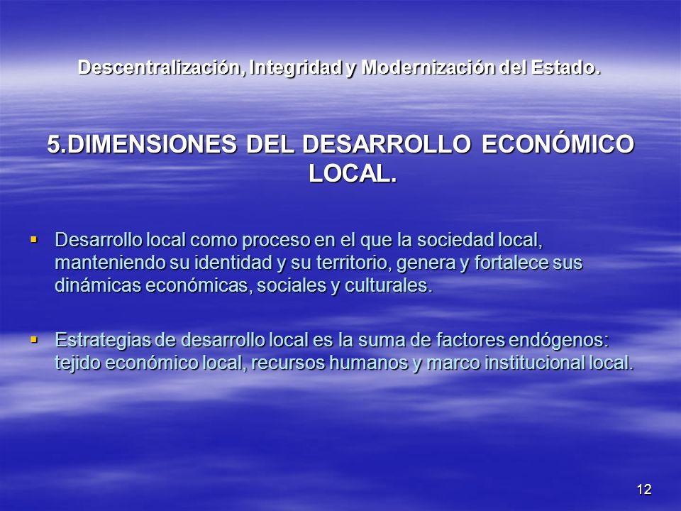 12 Descentralización, Integridad y Modernización del Estado. 5.DIMENSIONES DEL DESARROLLO ECONÓMICO LOCAL. Desarrollo local como proceso en el que la
