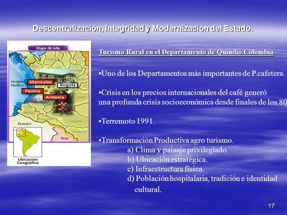 17 Descentralización, Integridad y Modernización del Estado. Turismo Rural en el Departamento de Quindio.Colombia Uno de los Departamentos más importa