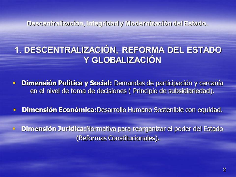 2 Descentralización, Integridad y Modernización del Estado. 1. DESCENTRALIZACIÓN, REFORMA DEL ESTADO Y GLOBALIZACIÓN Dimensión Política y Social: Dema