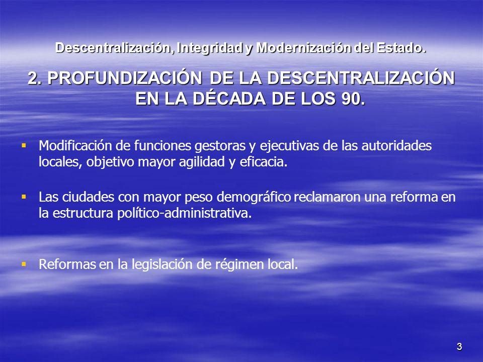 3 Descentralización, Integridad y Modernización del Estado. 2. PROFUNDIZACIÓN DE LA DESCENTRALIZACIÓN EN LA DÉCADA DE LOS 90. Modificación de funcione