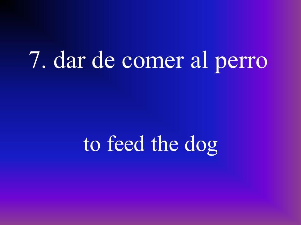 7. dar de comer al perro to feed the dog