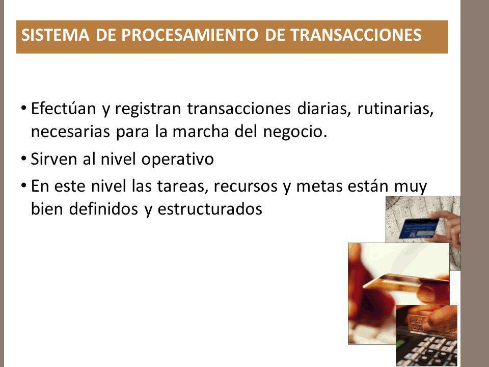 SISTEMA DE PROCESAMIENTO DE TRANSACCIONES Efectúan y registran transacciones diarias, rutinarias, necesarias para la marcha del negocio. Sirven al niv