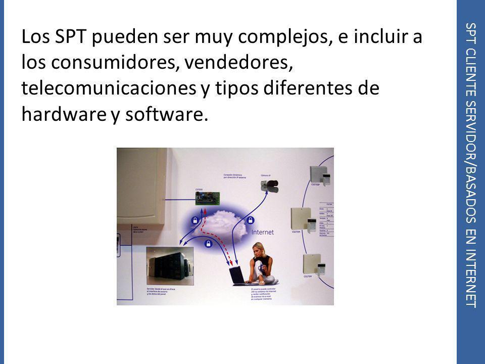 SPT CLIENTE SERVIDOR/BASADOS EN INTERNET Los SPT pueden ser muy complejos, e incluir a los consumidores, vendedores, telecomunicaciones y tipos difere