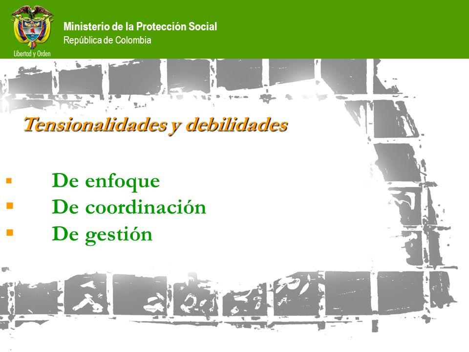 Ministerio de la Protección Social República de Colombia Tensionalidades y debilidades De enfoque De coordinación De gestión