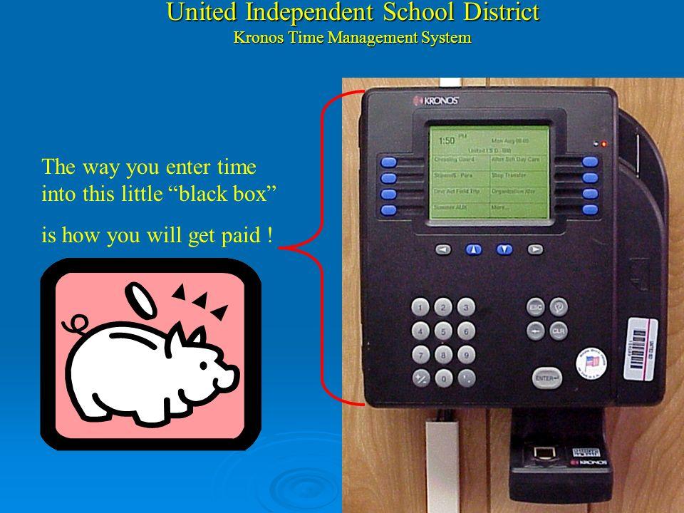 United Independent School District Kronos Time Management System ¿Como aparece su tarjeta de horas trabajadas? Cada ves que use la funcion Organizatio