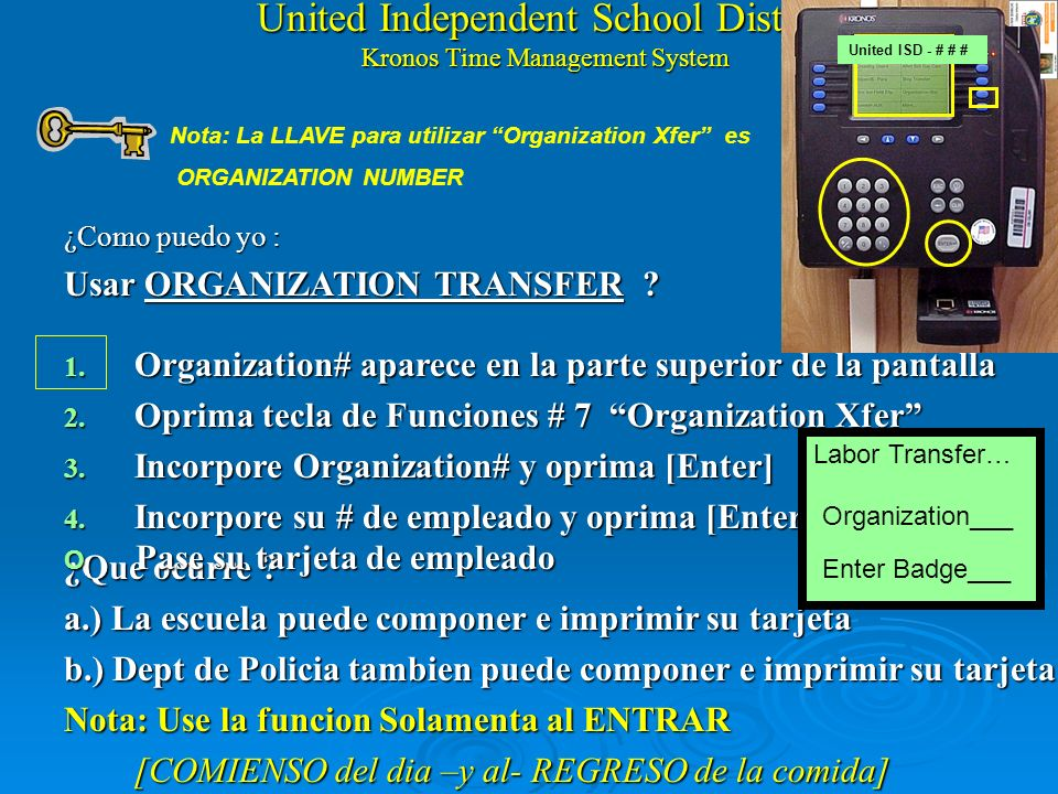 United Independent School District Kronos Time Management System How do I : Use ORGANIZATION TRANSFER 1. Organization# appears on top of screen 2. Hit