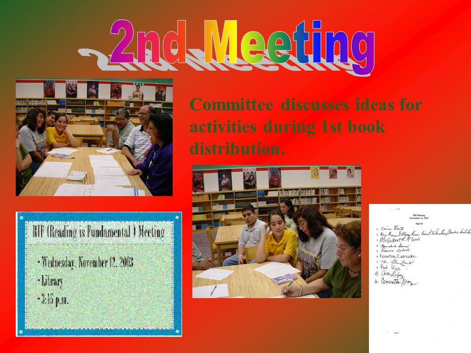 Committee discusses ideas for activities during 1st book distribution.