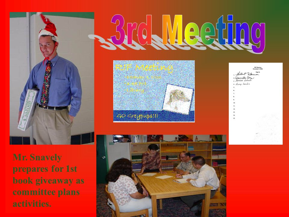 Mr. Snavely prepares for 1st book giveaway as committee plans activities.
