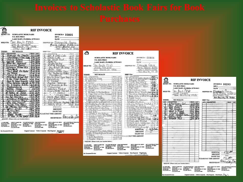 Invoices to Scholastic Book Fairs for Book Purchases