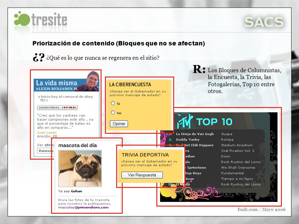 Endi.com / Mayo 2006 Los Bloques de Columnistas, la Encuesta, la Trivia, las Fotogalerías, Top 10 entre otros. ¿Qué es lo que nunca se regenera en el