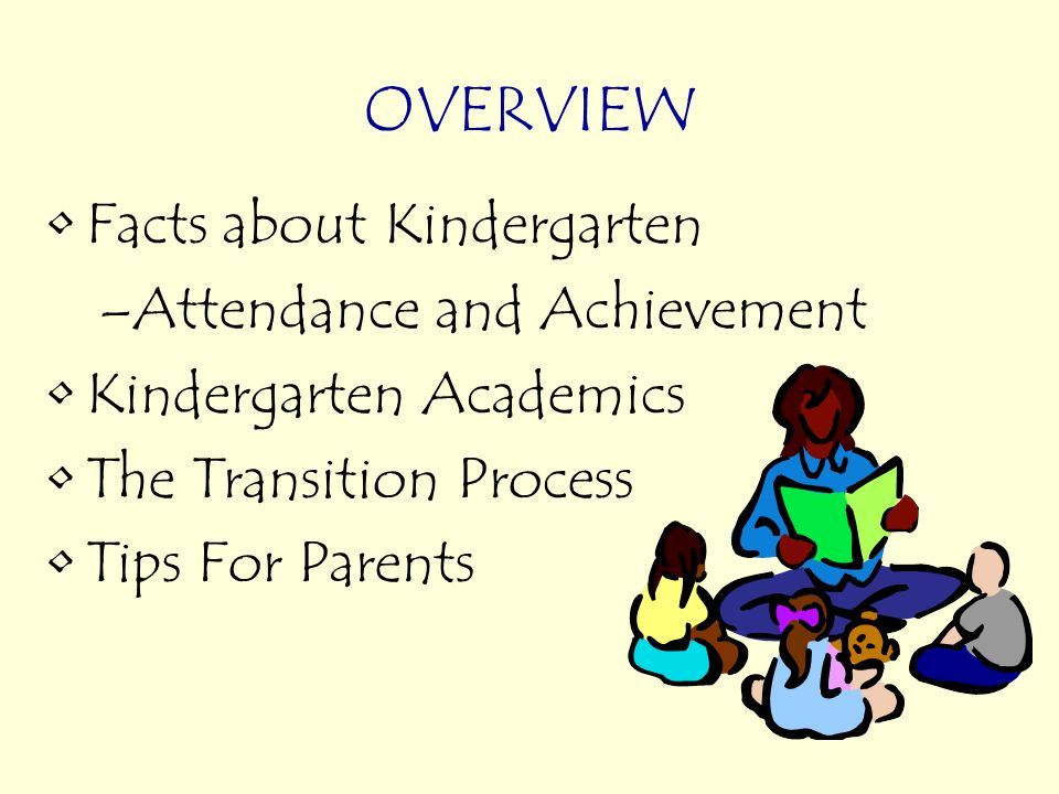 Facts about Kindergarten –Attendance and Achievement Kindergarten Academics The Transition Process Tips For Parents OVERVIEW
