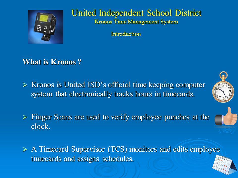 United Independent School District Kronos Sistema de Manejo del Tiempo PRESENTADORA TECNOLOGÍA: Norma Perez Supervisora de Kronos Jose Juan Nuñez & No
