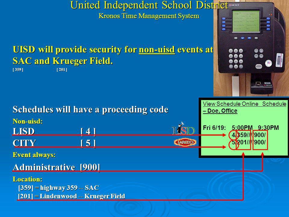 United Independent School District Kronos Clock Horas Extras se: 1.