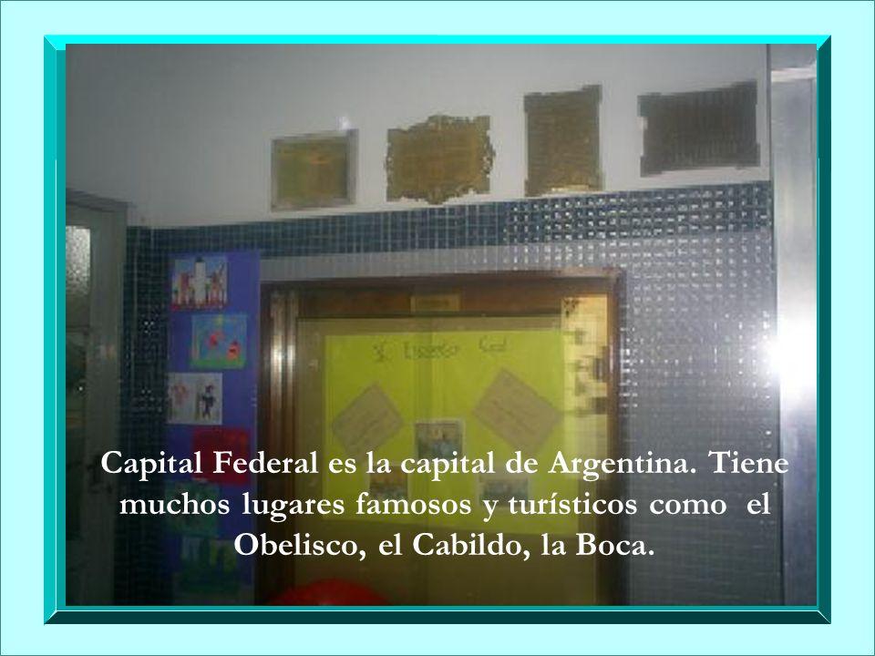 Capital Federal es la capital de Argentina. Tiene muchos lugares famosos y turísticos como el Obelisco, el Cabildo, la Boca.