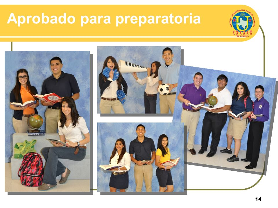 13 Opciones de colores elegidos para preparatoria 9 no – 12 do Preparatoria United: Naranja Preparatoria United South: Azul carolina Preparatoria Alex