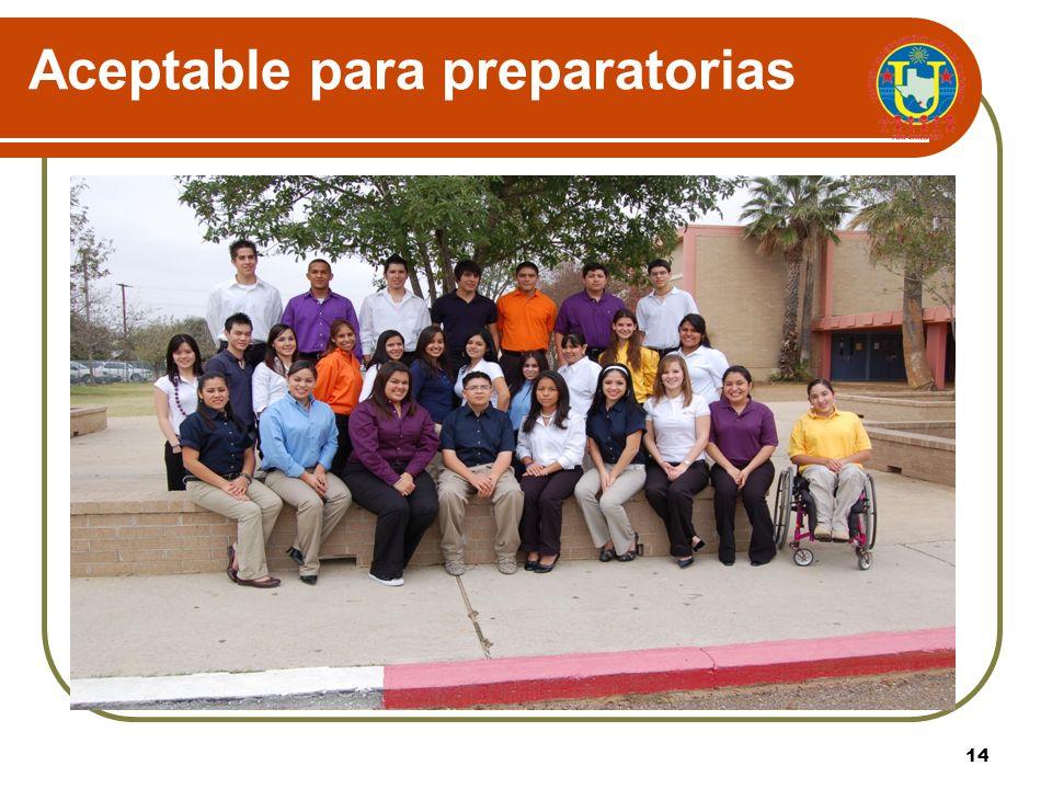 13 Opciones de colores seleccionados para preparatorias de 9 no – 12 do Preparatoria United: Naranja Preparatoria United South: Azul Carolina Preparat