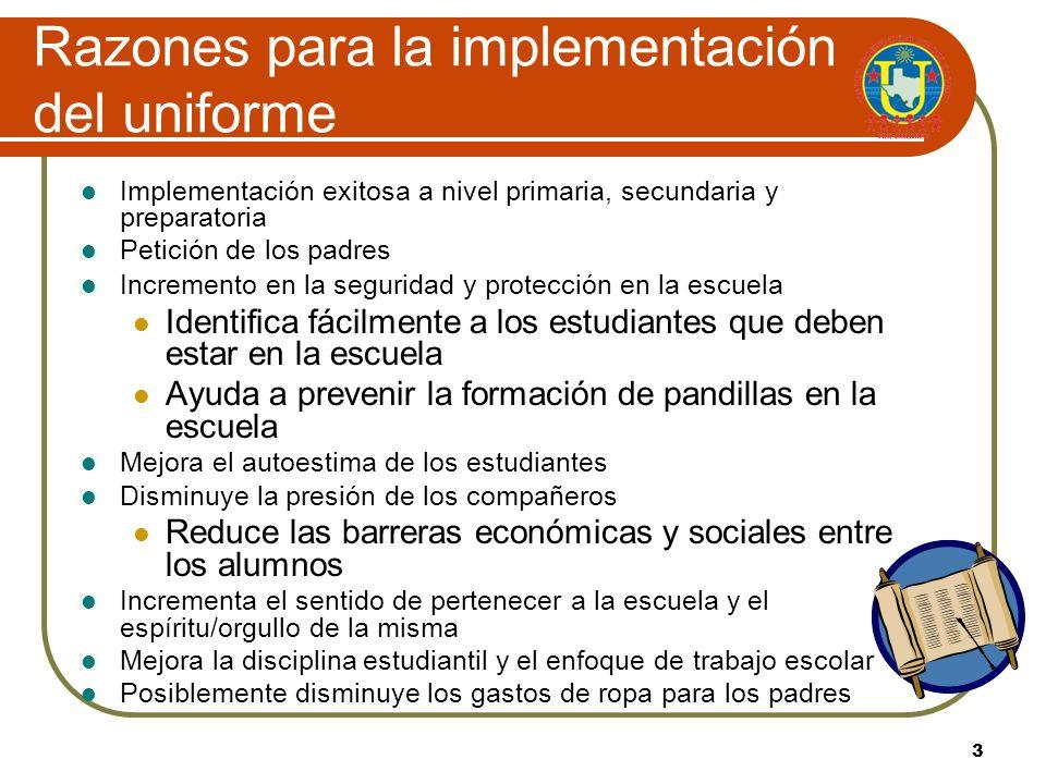2 United I. S. D. Uniformes Política FNCA (LOCAL) CONDUCTA DEL ESTUDIANTE: CÓDIGO DE VESTUARIO Propósito: Se estableció el código de vestuario del dis