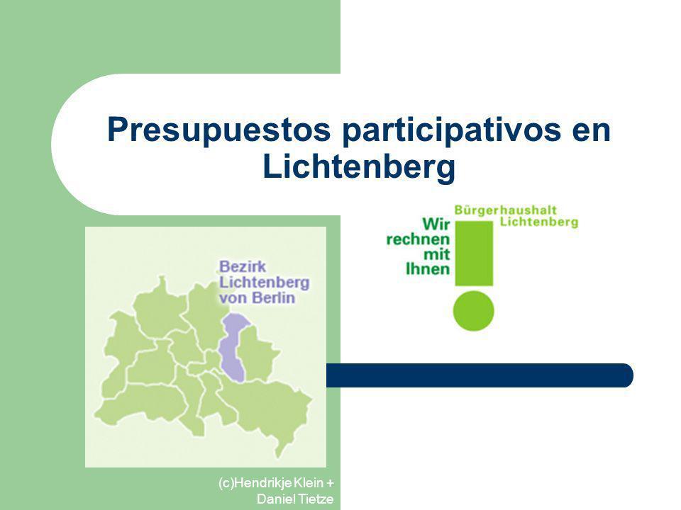 (c)Hendrikje Klein + Daniel Tietze Características de los PP en Alemania Parten del sistema político administrativo Movimientos sociales débiles que conllevan una falta de auto-organización de los procesos de PP Los alcaldes son los mayores promotores de los PP El objetivo principal de los PP es la discusión de la voluntad ciudadana y su plasmación en los procesos de PP