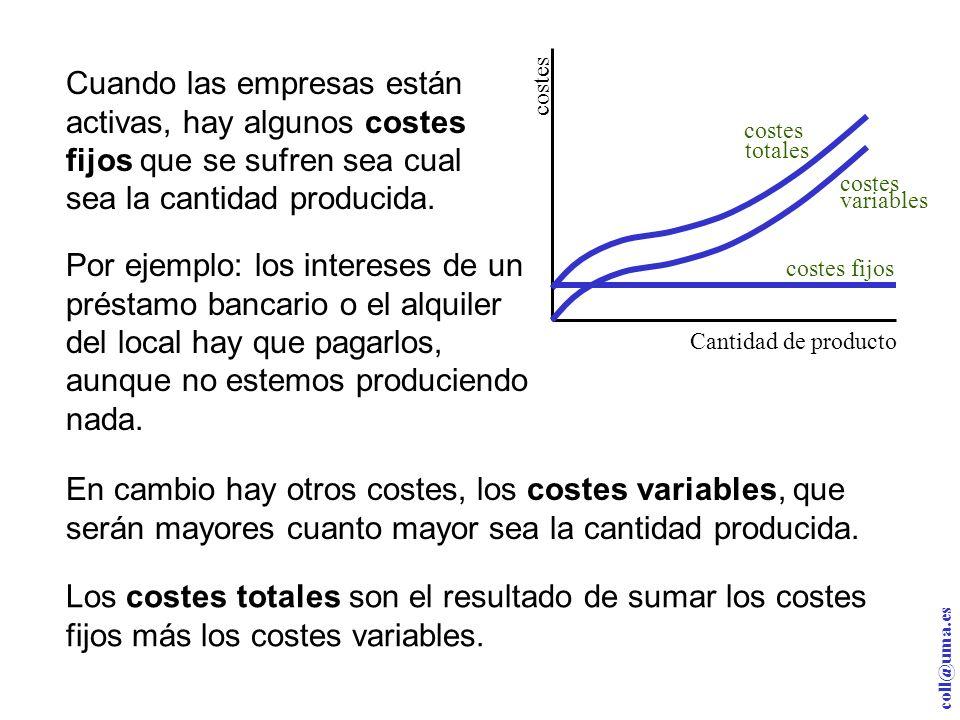 coll@uma.es Cantidad de producto c o s t e s costes totales costes variables costes fijos Cuando las empresas están activas, hay algunos costes fijos que se sufren sea cual sea la cantidad producida.