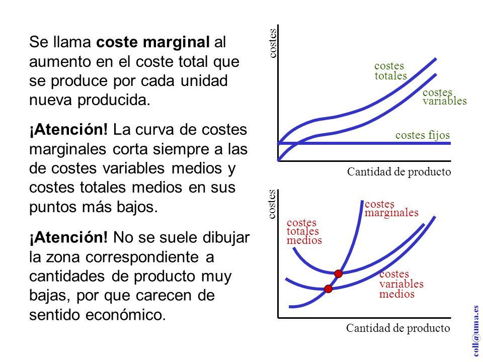 coll@uma.es Cantidad de producto costes totales costes variables costes fijos Se llama coste marginal al aumento en el coste total que se produce por cada unidad nueva producida.