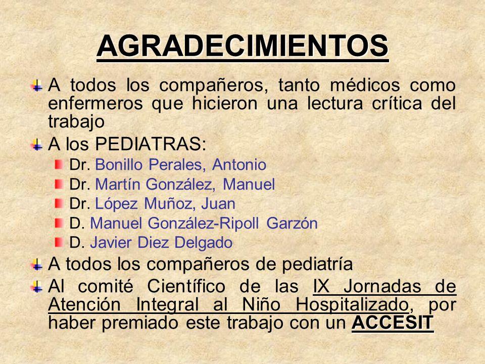 AGRADECIMIENTOS A todos los compañeros, tanto médicos como enfermeros que hicieron una lectura crítica del trabajo A los PEDIATRAS: Dr. Bonillo Perale
