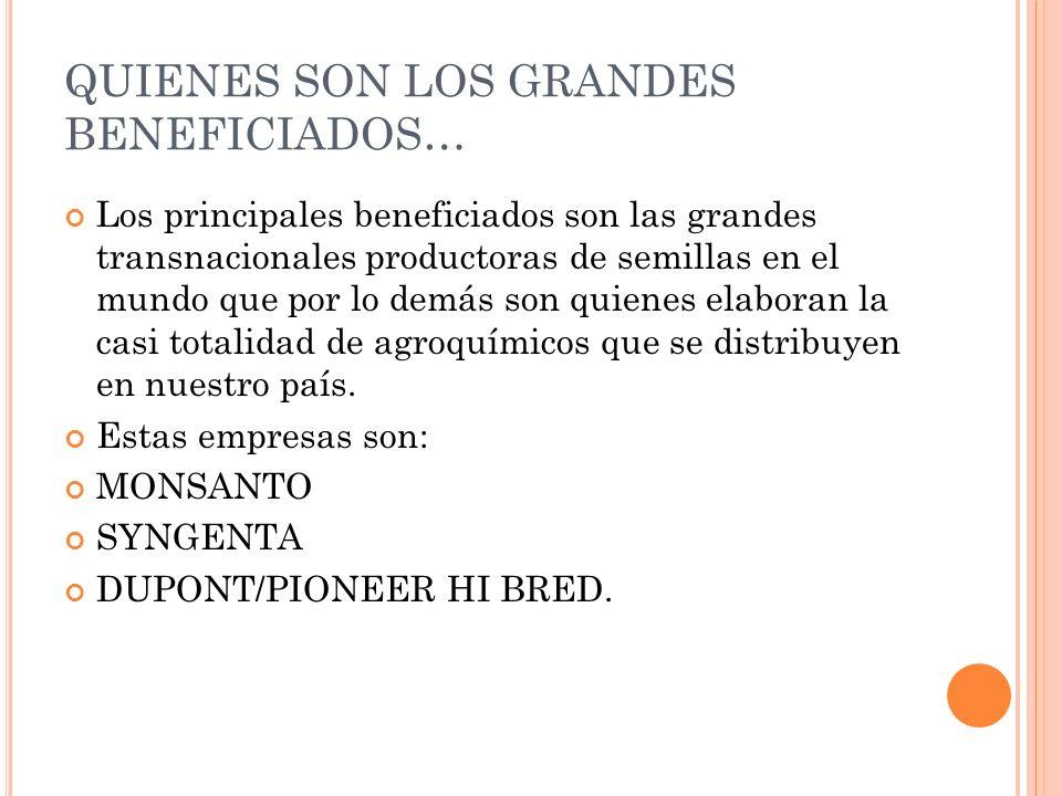 QUIENES SON LOS GRANDES BENEFICIADOS… Los principales beneficiados son las grandes transnacionales productoras de semillas en el mundo que por lo demá