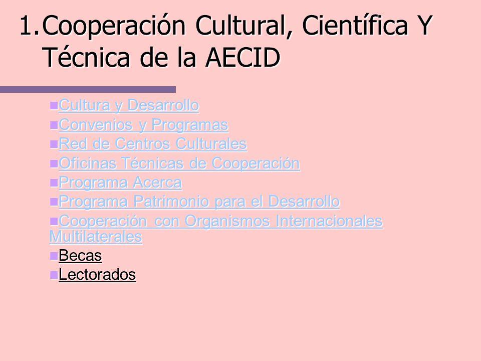 · Los Centros Culturales de la AECID son equipamientos culturales situados en diferentes países para llevar a cabo los objetivos de la política de cooperación cultural exterior del gobierno y de los agentes culturales de nuestro país.
