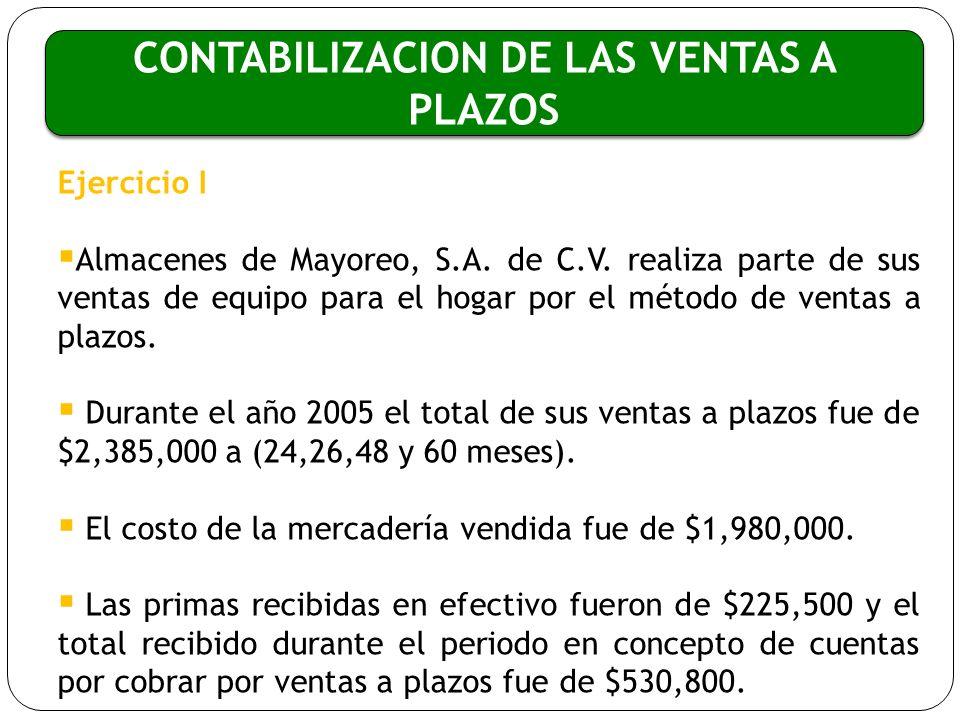 CONTABILIZACION DE LAS VENTAS A PLAZOS Ejercicio I Almacenes de Mayoreo, S.A. de C.V. realiza parte de sus ventas de equipo para el hogar por el métod