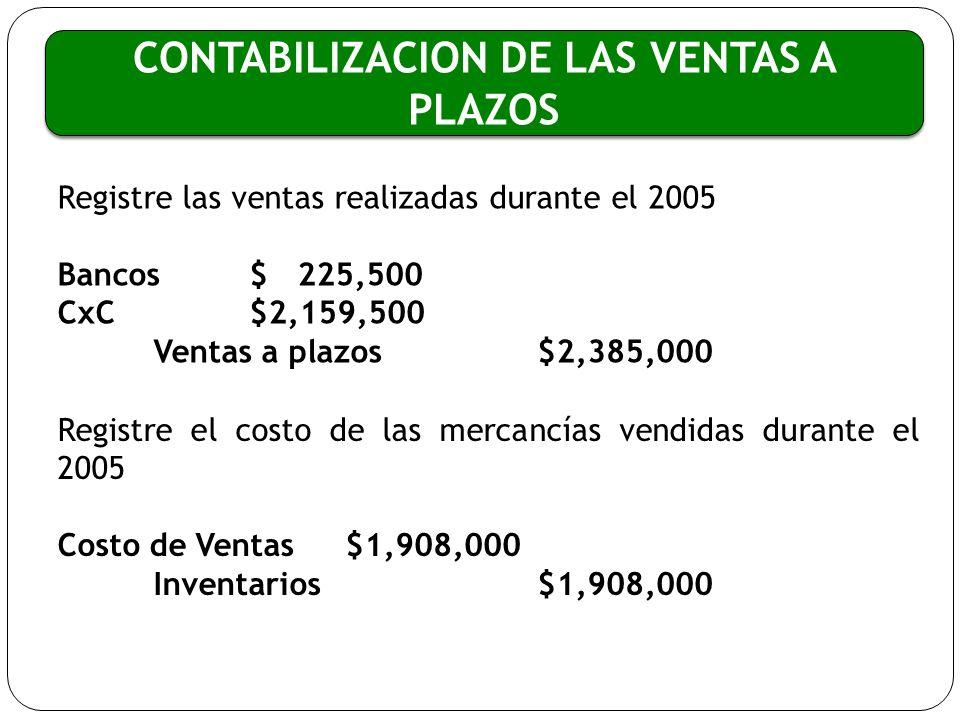 CONTABILIZACION DE LAS VENTAS A PLAZOS Registre las ventas realizadas durante el 2005 Bancos$ 225,500 CxC $2,159,500 Ventas a plazos$2,385,000 Registr